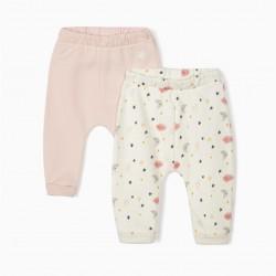 2 'NIGHT SKY' NEWBORN PANTS, WHITE / PINK
