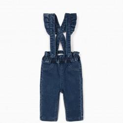 COMFORT DENIM PANTS WITH STRAPS, BLUE