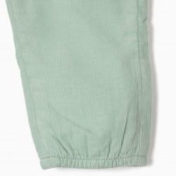 BOMBAZINE PANTS FOR NEWBORN, WATER GREEN €