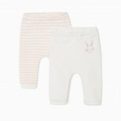 2 'CUTE BUNNY' NEWBORN PANTS, WHITE/PINK