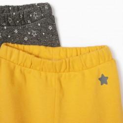 2 NEWBORN PANTS 'STARS', MIXED GRAY / YELLOW