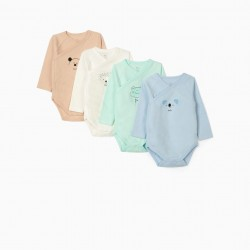 4 BODIES LONG SLEEVE BABY 'ANIMALS', MULTICOLOR