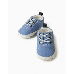 CAMBRIC NEWBORN BABY SHOES, BLUE