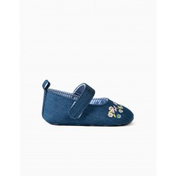 DENIM BALLERINAS FOR NEWBORN 'FLOWERS', BLUE