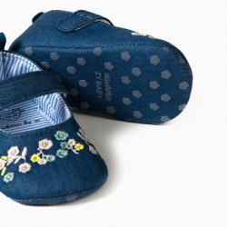 DENIM BALLERINAS FOR NEWBORN 'FLOWERS', BLUE