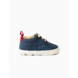 NEWBORN WAXED SHOES, BLUE