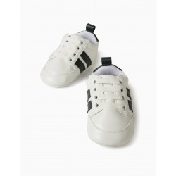 NEWBORN STRIPED SNEAKERS, WHITE / DARK BLUE