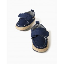 NEWBORN JUTE SHOES, DARK BLUE