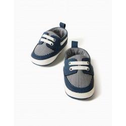 NEWBORN COMBO SHOES, BLUE / STRIPE