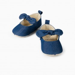 DENIM BALLERINAS FOR NEWBORN, BLUE