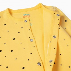2 BABYGROWS FOR NEWBORN 'SPACE MICKEY', YELLOW AND GRAY