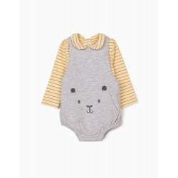 NEWBORN BABY BODYSUIT AND BODYSUIT, GRAY / YELLOW / WHITE