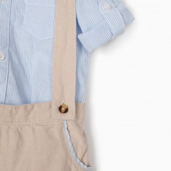 BODY SHIRT AND SHORTS FOR NEWBORN, BEIGE / BLUE