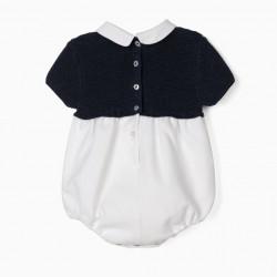 DUAL FABRIC JUMPSUIT FOR NEWBORN BABY BOYS, DARK BLUE/WHITE