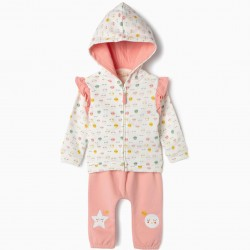 ALL SMILES' NEWBORN TRACKSUIT, PINK AND WHITE