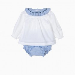 BLOUSE AND DIAPER COVER FOR NEWBORN RUFFLES, WHITE AND BLUE