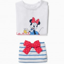'MINNIE MOUSE' NEWBORN T-SHIRT AND SHORTS, WHITE