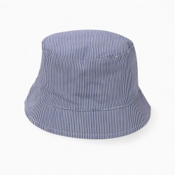 STRIPED HAT FOR GIRLS, BLUE