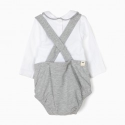 'LION' BABY BODYSUIT AND JUMPSUIT, GRAY AND WHITE