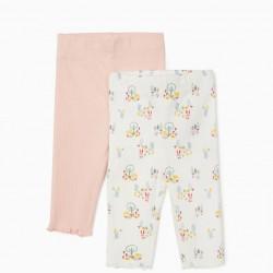 2 NEWBORN FLUTED PANTS, WHITE/PINK