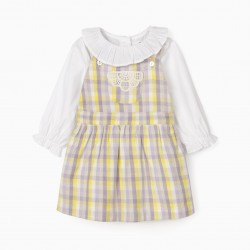BODY-BLOUSE + CHEST SKIRT FOR BABY GIRL, LILAC/YELLOW