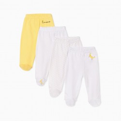 4 FOOT TROUSERS FOR BABY 'BANANA', WHITE/YELLOW
