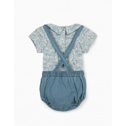 NEWBORN SHORTS AND BODYSUIT, BLUE / WHITE
