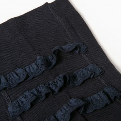 KNITTED TIGHTS WITH ENGLISH EMBROIDERY FOR BABY GIRL, DARK BLUE