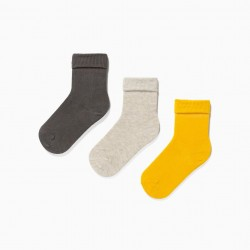 3 PAIRS OF TURN CUFF SOCKS FOR BABIES, MULTICOLOURED