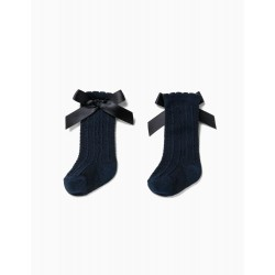 BABY GIRL'S HIGH SOCKS WITH BOW, DARK BLUE