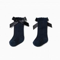 BABY GIRL'S HIGH SOCKS WITH BOW, DARK BLUE