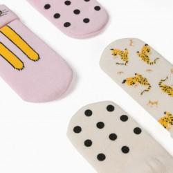 2 PAIRS OF NON-SLIP SOCKS FOR BABY GIRLS, PINK/BEIGE