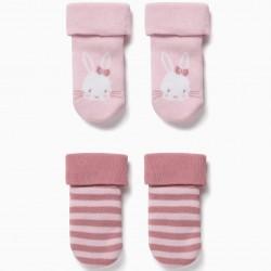 2-PACK NON-SLIP SOCKS FOR BABY GIRLS 'CUTE BUNNY', PINK