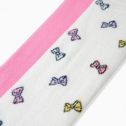 2 KNITTED TIGHTS FOR GIRL 'BOWS', WHITE/PINK