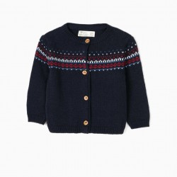 DARK BLUE JACQUARD CARDIGAN