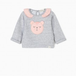 NEWBORN 'ANIMALS' HOODIE, GRAY AND PINK