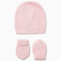 PINK BEANIE AND GLOVES SET