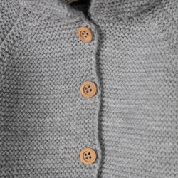 'LION' HOODED NEWBORN KNITTED COAT, GRAY