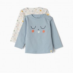 2 LONG SLEEVE T-SHIRTS FOR NEWBORN 'SLEEP', BLUE AND WHITE