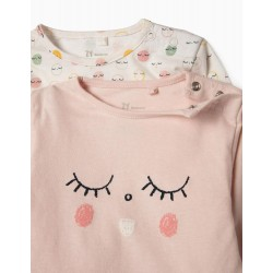 2 LONG SLEEVE T-SHIRTS FOR NEWBORN 'SLEEP', PINK AND WHITE