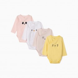 4 LONG SLEEVE BODIES FOR BABY GIRL 'ANIMALS', MULTICOLOR