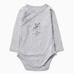 4 LONG SLEEVE BODIES FOR NEWBORN 'SPACE', GRAY AND WHITE
