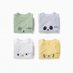 4 LONG SLEEVE BODIES FOR BABY BOY 'ANIMALS', MULTICOLOR