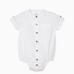 'B&S' BABY BODYSUIT WITH HAND COLLAR, WHITE