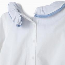 BODYSUIT BLOUSE FOR NEWBORNS WITH RUFFLES, WHITE