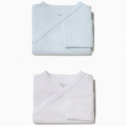PACK 2 LONG SLEEVE BLUE AND WHITE BODIES