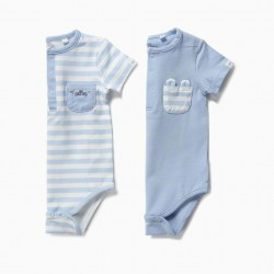 2 'ANIMALS' NEWBORN BODYSUITS, BLUE