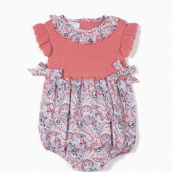 'B&S' PAISLEY TWO-PIECE NEWBORN JUMPSUIT, PINK