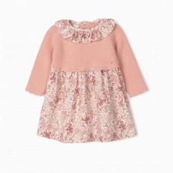 NEWBORN 'FLOWERS' COMBO DRESS, PINK