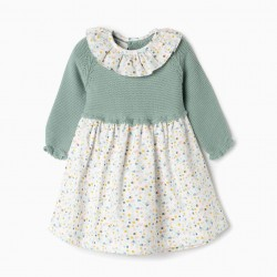 COMBINED DRESS FOR NEWBORN 'FLOWERS', GREEN AND WHITE